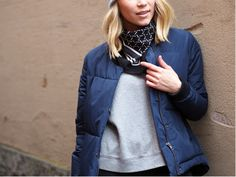 LACK OF COLOUR / Quilted bomber jacket / Silk scarf
