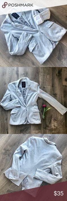 Aritzia Talula Gray Cotton Blazer XS Zero Aritzia Talula Cotton Blazer Striped Cuff Lining Size 0 Extra Small Dressy or Casual Super Comfy!!! EUC Talula Jackets & Coats Blazers