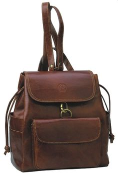 A leather backpack.