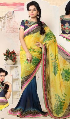 True splendor comes out from your dressing design with this blue and yellow printed georgette half n half sari. The digital print, lace and resham work seems chic and best for any function. Upon request we can make round front/back neck and short 6 inches sleeves regular saree blouse also. #SuperbFloralPrintedGeorgetteSaree
