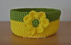 Utensilo Häkelkorb yellow flower von PHOTOGLÜCK auf DaWanda.com