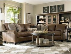 Basset Custom L-Shaped Ellery Sectional in color Stone