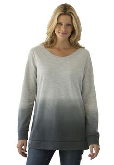 Woman Within Plus Size Top, tunic-length sweatshirt in ombre knit $19.99