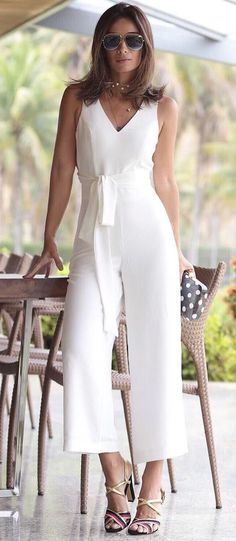 gorgeous white jumpsuit - Jumpsuits and Romper Outfit Essentials, Jumpsuit Outfit, White Jumpsuit, Casual Wear, Casual Outfits, Cute Outfits, Overall, Jumpsuits For Women, Casual Looks