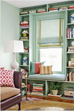 Storage and Seating - The 19 Most Incredible Small Spaces on Pinterest - Southernliving. This window nook does not sit idly by—soft cushions invite guests to sit down, while the space around the window gets put to work as extra shelving and storage.   See Pin