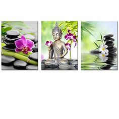 Buddha Canvas Wall ArtSpa Zen Stone Canvas PrintOrchid Flower Home Decal ArtKeep Peace for FramedEasy to Hang 12x16x3pcs ** You can find out more details at the link of the image.