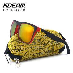 Fortement Recommandé KDEAM Miroir lunettes de Soleil Polarisées Hommes Surf Sport Lunettes de Soleil Femmes UV lunettes de soleil Avec D'arachide Cas KD156