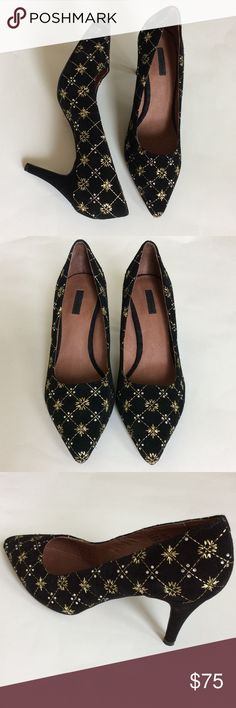 """{Anthropologie} Matiko Jessica Pumps {Anthropologie} Matiko Jessica Pumps by Matiko. With a femme pointed toe, these festive pumps are fun, edgy and well designed.  Gorgeous gold embroidery with a sprinkle of rhinestones. Suede upper, leather insole, synthetic sole. 3"""" suede wrapped heel. Size 39.  New without box. #517 Anthropologie Shoes Heels"""