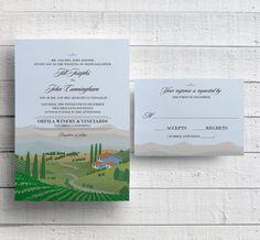 Winery Wedding Invitations Vineyard Wedding by EdenWeddingStudio