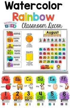 Update your classroom theme this year with this clean and vibrant rainbow watercolor splash theme. It includes 8 different class decor products and has editable options as well. Classroom Decor Themes, Classroom Organization, Classroom Posters, Classroom Management, Classroom Ideas, Whole Brain Teaching, Teaching The Alphabet, Rainbow Theme, Rainbow Cupcakes