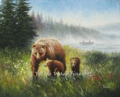 Bear Country Original Oil Painting 16X20 mother bear, cubs forest, lake, canvas paintings, canoe, rustic, bear paintings, Vickie Wade art by VickieWadeFineArt on Etsy https://www.etsy.com/listing/208140406/bear-country-original-oil-painting-16x20