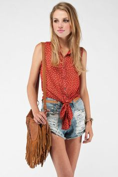Spots and Dots Sleeveless Blouse in Rust $25 at www.tobi.com