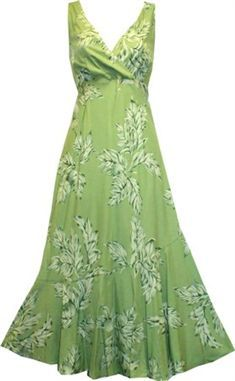 TP 924R [Ulu Mat/Sage] Mid-Length Dress - Wedding - Hawaiian Dresses   AlohaOutlet SelectShop