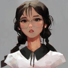 Glasses 6 by samuelyounart on DeviantArt Cartoon Kunst, Anime Kunst, Anime Art, Cute Art Styles, Cartoon Art Styles, Art Sketches, Art Drawings, Digital Art Girl, People Art