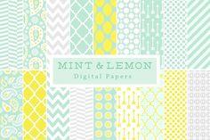 Mint & Lemon Backgrounds by Lilly Bimble on @creativemarket