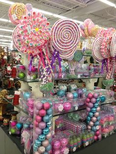 Hobby Lobby: Candy land Christmas items to purchase! Love the oversize lollipops for outdoor holiday displays! Gingerbread Christmas Decor, Candy Land Christmas, Grinch Christmas Decorations, Candy Decorations, Noel Christmas, Christmas Themes, Christmas Crafts, Hobby Lobby Christmas Ornaments, Whimsical Christmas Trees