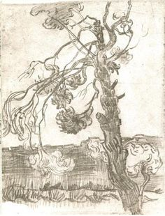 Weather-Beaten Pine Tree, A - Vincent van Gogh . Created in Saint-Rémy in October - Located at Van Gogh Museum. Find a print of this Pencil Drawing Pierre Auguste Renoir, Edouard Manet, Vincent Van Gogh, Desenhos Van Gogh, Charles Gleyre, Van Gogh Arte, Van Gogh Drawings, Van Gogh Landscapes, Pine Tree Painting