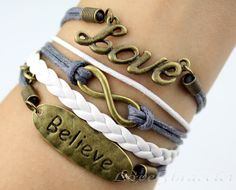 Wax rope and imitation leather bracelet love by lovelybracelet, $5.59