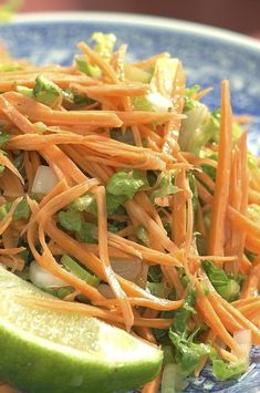 Sweet potatoes can be eaten raw as well as cooked. Here they star in a sprightly slaw, a quick and light accompaniment for simple poached or steamed fish. #salads #saladrecipes #healthysalads #saladideas #healthyrecipes