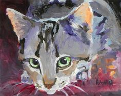 Tabby Cat Art Print of Original Acrylic Painting - 8x10 About the Print: This Tabby Cat open edition art print is from an original painting by