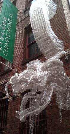 Water Dragon - a sculpture made from plastic bottles outside Melbourne's Chinese Museum (Claire Tracey, 2012)