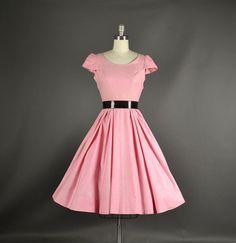 1950s Dress / Pink Cotton Day Dress / 50s Dress by NodtoModvintage