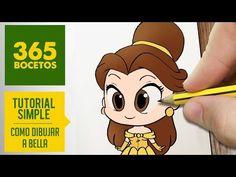 COMO DIBUJAR A BELLA DE LA BELLA Y LA BESTIA: Dibujar princesas disney en español - dibujo kawaii - YouTube
