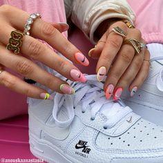 Nike Nails, Aycrlic Nails, Gem Nails, Clear Nails, Oval Nails, Hair And Nails, Manicure, Shellac Nail Art, Cute Acrylic Nails