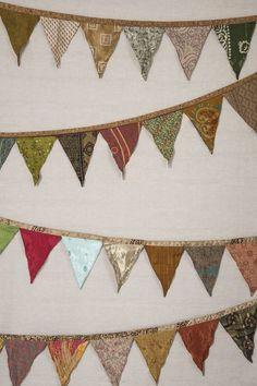 Up-cycled Indian Handmade Multicolor Silk Sari Made Indian Old Silk Sari Bunting Flags Garden Decor Flag Garland, Bunting Flags, Bunting Ideas, Home Lanterns, Indian Curtains, Patchwork Curtains, Sari, Color Changing Led, Affordable Home Decor