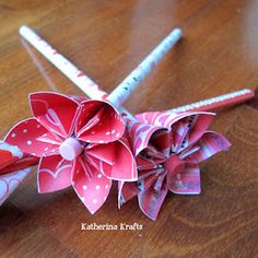 125 best flower pens images on pinterest flower pens alice and items similar to breast cancer awareness pink ribbon origami flower pencil or pen favors bouquet on etsy mightylinksfo