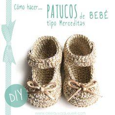 #Tutorial paso a paso para hacer unos patucos de #crochet tipo merceditas para bebé #DIY