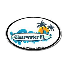 Clearwater FL - Surf Design. Decal on CafePress.com