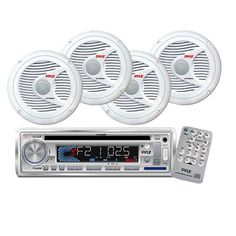 In-Dash Marine AM/FM-MPX CD/MP3 Player/USB & SD Card Function + 2 Pairs of 150 Watts 6.5'' 2 Way White Marine Speakers