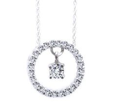 "1/2ct - Diamonds in Motion Necklace. Dances to the Music of Her Heart TM. 14k Gold with 18"" 14k Chain"