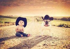 Cowboy baby and dog