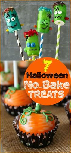 7 Halloween No-Bake Treats.  These Halloween goodies are to die for.  Both kids and adults will love these festive Halloween Desserts.