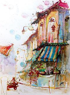 """No. 266 Club Street, Singapore"" - Original Fine Art for Sale - © Tilen Ti"