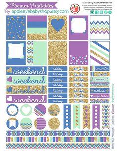 Planner Printable | Labels, Tags. Gold Purple Mint Blue | da Apple Eye Baby Shop