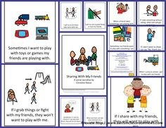 Social Story for Sharing: This illustrated story for elementary-aged students focuses on helping them share with others. t is useful as part of an overall behavior support plan and to share information about appropriate behavior. Classroom Behavior, Autism Classroom, Special Education Classroom, Classroom Activities, Kids Education, Learning Activities, Kids Learning, Teacher Education, Physical Education