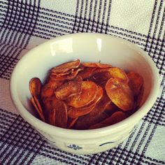 Rosemary and Sea Salt Sweet Potato Chips by Plaid and Paleo. Tasty take on regular sweet potato chips. The flavors of rosemary and sea salt pair to make the perfect savory snack at any gathering! Whole 30 Snacks, Whole 30 Diet, Paleo Whole 30, Whole 30 Recipes, Savory Snacks, Healthy Snacks, Healthy Eating, Healthy Cooking, Paleo Recipes