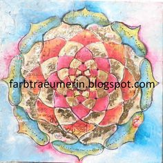 beautiful colors, Mandala painting, mixed media art, intuitive painting, acrylic painting, colorful, blue, turquoise , red, gold