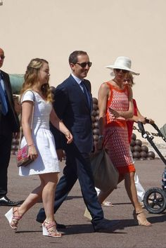MyRoyals:  Civil Wedding of Pierre Casiraghi and Beatrice Borromeo, Monaco, July 25, 2015-Princess Alexandra, Gad Elmaleh, and Charlotte Casiraghi