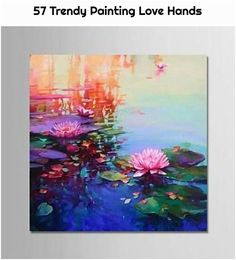 Hand Painted Oil Water Lily Blossoms on a Lake Really lovely hand painted oil. Brilliant water lily on the water. Click the link above to get started. Water Lilies Painting, Lily Painting, Painting & Drawing, Lotus Painting, Aesthetic Painting, Art Japonais, Wow Art, Acrylic Art, Art Plastique