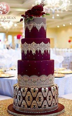 The Chic Technique: Velvety Red and White Lace Wedding Cake ! The Chic Technique: Velvety Red and White Lace Wedding Cake ! Indian Wedding Cakes, Floral Wedding Cakes, Wedding Cake Rustic, Wedding Cakes With Cupcakes, Elegant Wedding Cakes, Floral Cake, Beautiful Wedding Cakes, Wedding Cake Designs, Beautiful Cakes