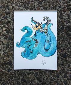 "Nobel octopus for sale on 9""x12"" watercolor paper"