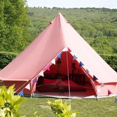 Coral Red Bell Tent With Zipped in Ground Sheet