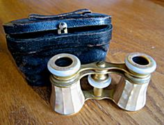 Antique mother of pearl opera glasses with case for sale at More Than McCoy at http://www.morethanmccoy.com