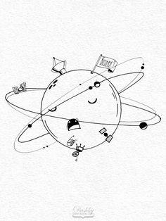 sticker design by #dushky for #umanshop | #illustration #marker #sticker #design #space #universe #planet #saturn #moon #sattelite