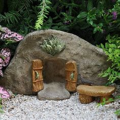 Cove Fairy Door Fairy Garden Landscaping Miniature Door is part of Fairy garden decor To cove or not to cove, that is a fairy question How could any fairy resist inserting a cove with wooden desig - Fairy Garden Furniture, Fairy Garden Houses, Gnome Garden, Diy Fairy Garden, Fairy Gardening, Easy Garden, Ideias Diy, Fairy Doors, Garden Care