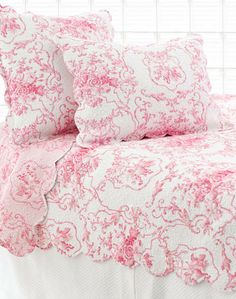 Cottage Toile Pink Quilted Sham | Pine Cone Hill Outlet
